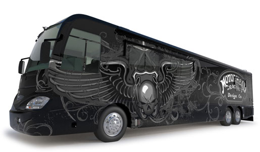 motorhead racing 3d bus illustration